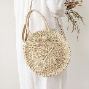 🆕️Sale💖Handmade Straw Braided Circular Bag